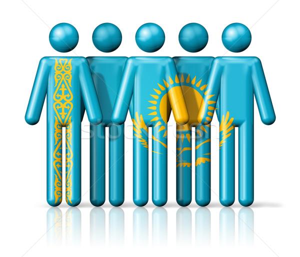 Zászló Kazahsztán pálcikaember társasági közösség szimbólum Stock fotó © daboost