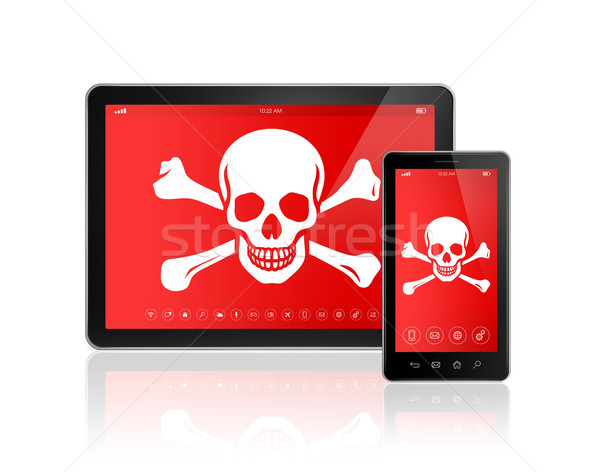 Digital tablet PC and smartphone with a pirate symbol on screen. Stock photo © daboost