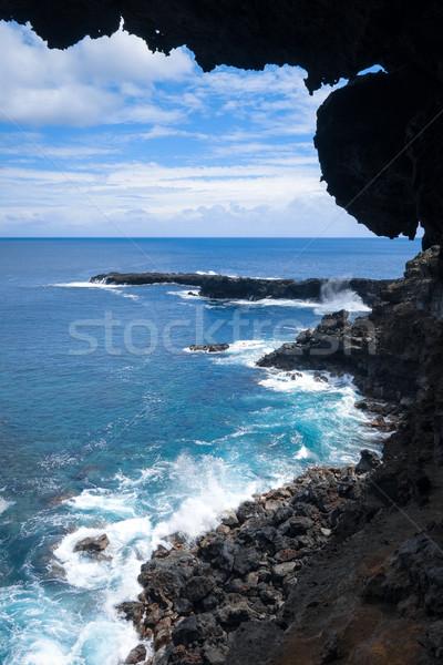 Oceano paisagem caverna Ilha de Páscoa Chile Foto stock © daboost