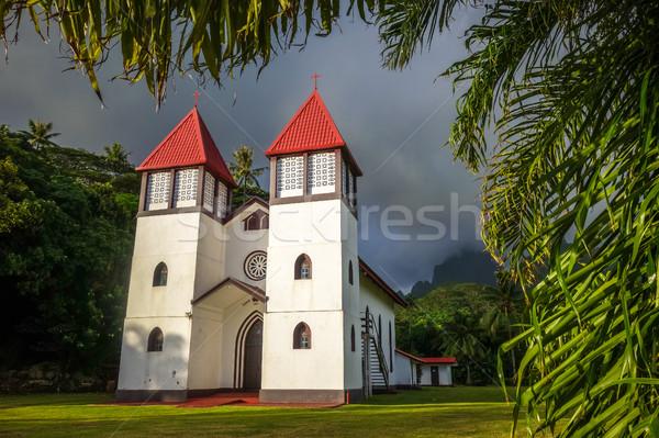Haapiti church in Moorea island jungle, landscape Stock photo © daboost