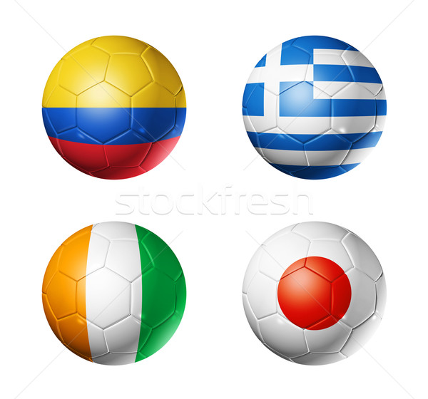 Brazil world cup 2014 group C flags on soccer balls Stock photo © daboost