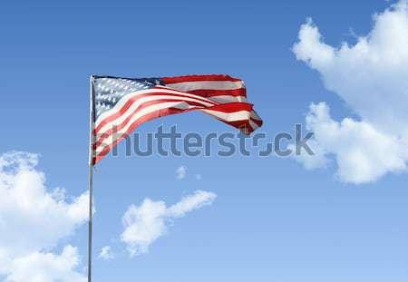 Bandeira americana blue sky céu nuvens estrelas azul Foto stock © daboost