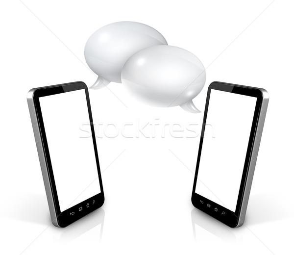 Stock fotó: Szövegbuborékok · mobiltelefonok · 3D · kommunikáció · technológia · számítógép