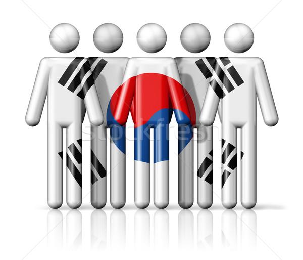 Flag of South Korea on stick figure Stock photo © daboost