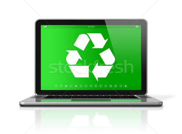 Laptop with a recycling symbol on screen. environmental conserva Stock photo © daboost