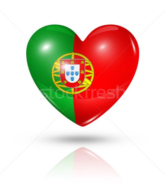 Stock photo: Love Portugal, heart flag icon