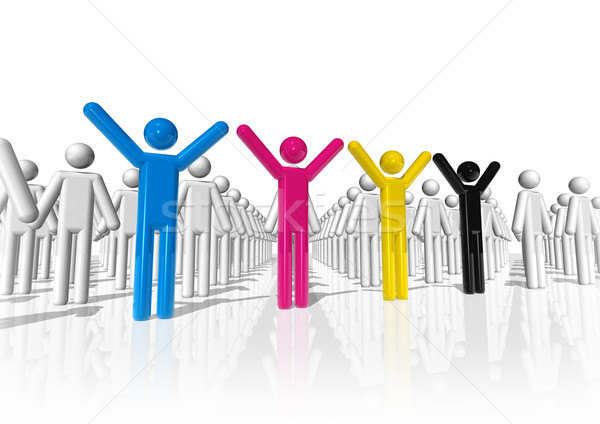 3D cmyk icon people Stock photo © daboost