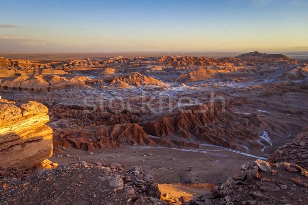 ストックフォト: ラ · 日没 · 風景 · 雲 · 砂漠 · 青