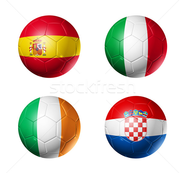 soccer UEFA euro 2012 cup - group C flags on soccer balls Stock photo © daboost