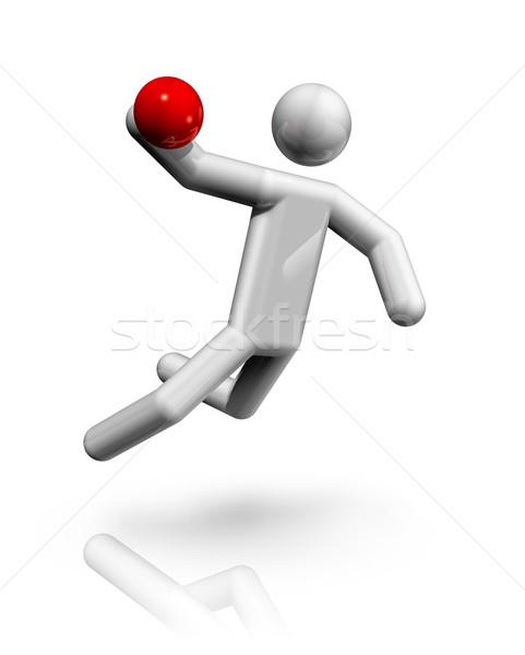 Hentbol 3D simge üç boyutlu el spor Stok fotoğraf © daboost