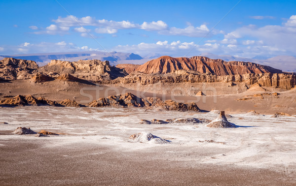 ストックフォト: ラ · チリ · 風景 · 砂漠 · オレンジ · 青