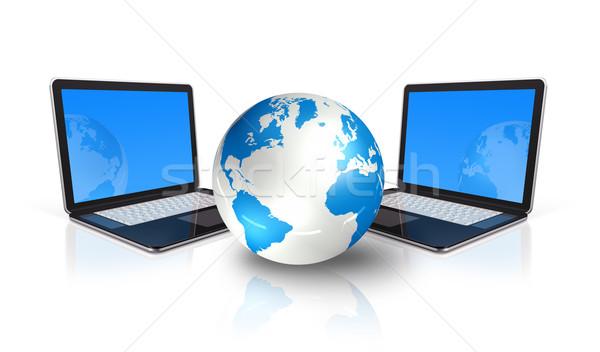 ストックフォト: 2 · ノートパソコン · コンピュータ · 周りに · 世界 · 世界中