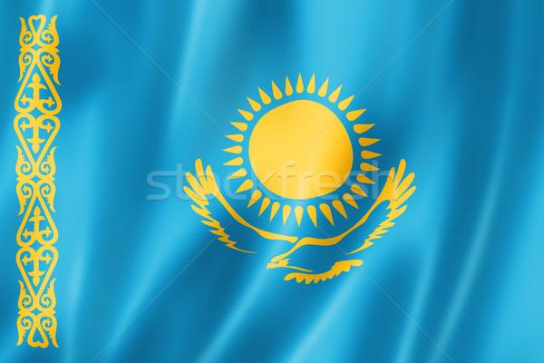 Kazahsztán zászló háromdimenziós render szatén textúra Stock fotó © daboost