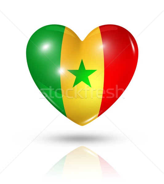 Szeretet Szenegál szív zászló ikon szimbólum Stock fotó © daboost
