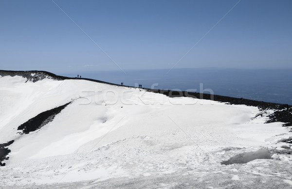 People on volcano mount Etna crater Stock photo © daboost
