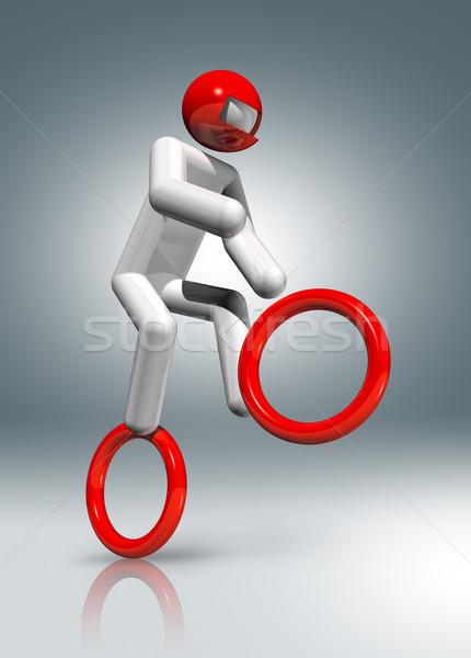 Biciklizik 3D szimbólum sportok háromdimenziós olimpiai játékok Stock fotó © daboost