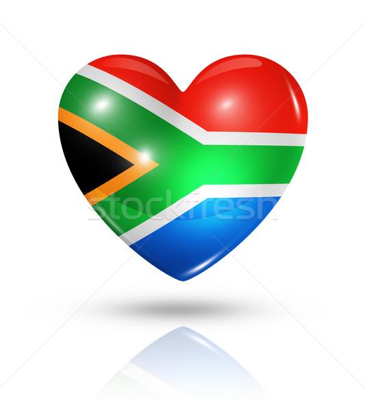 Amour Afrique du Sud coeur pavillon icône symbole Photo stock © daboost
