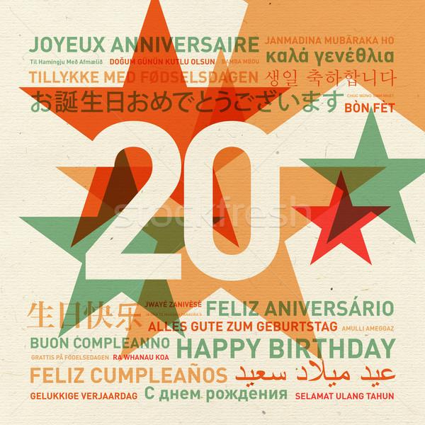 Stock photo: 20th anniversary happy birthday card from the world
