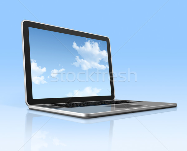 Laptop computer with sky screen isolated on blue Stock photo © daboost