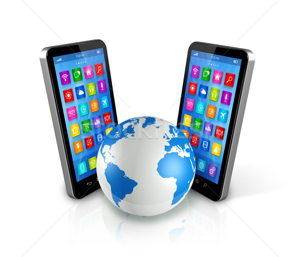 Smartphones Around World Globe, Global Communication Stock photo © daboost