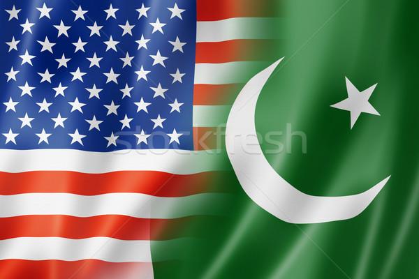 USA Pakisztán zászló vegyes háromdimenziós render Stock fotó © daboost