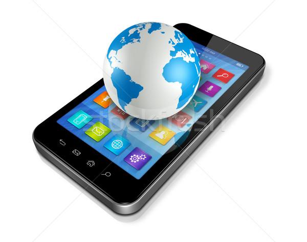 Сток-фото: смартфон · приложения · иконки · Мир · мира · 3D