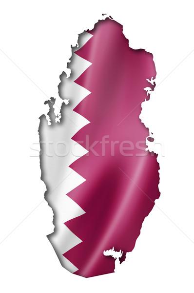 Катар флаг карта оказывать изолированный Сток-фото © daboost