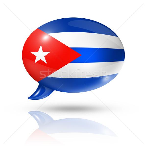 кубинский флаг речи пузырь Куба изолированный Сток-фото © daboost