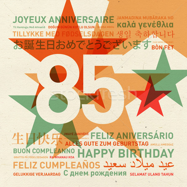 Aniversario feliz cumpleaños tarjeta mundo diferente idiomas Foto stock © daboost