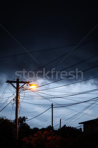 Rue lumière nuit orageux ciel sombre Photo stock © daboost