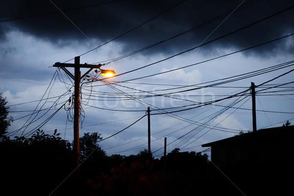 Stockfoto: Straat · licht · nacht · stormachtig · hemel · donkere
