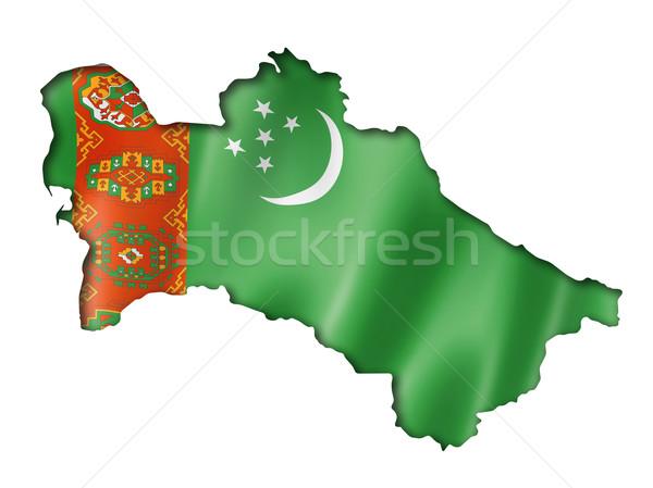 Türkmenisztán zászló térkép háromdimenziós render izolált Stock fotó © daboost