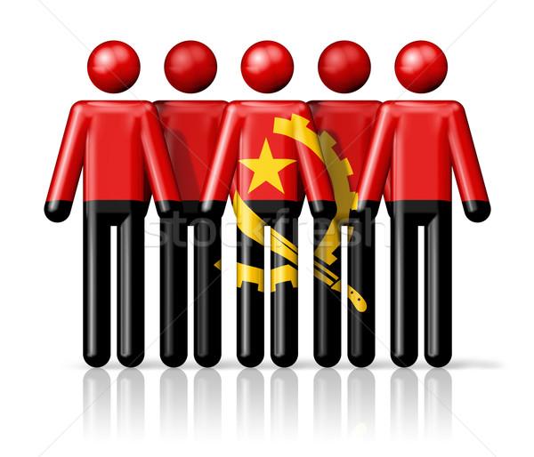флаг Ангола stick figure социальной сообщество символ Сток-фото © daboost