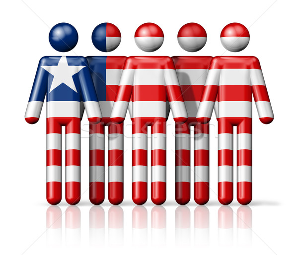 Flag of Liberia on stick figure Stock photo © daboost