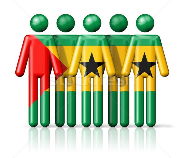 Flag of Sao Tome and Principe on stick figure Stock photo © daboost