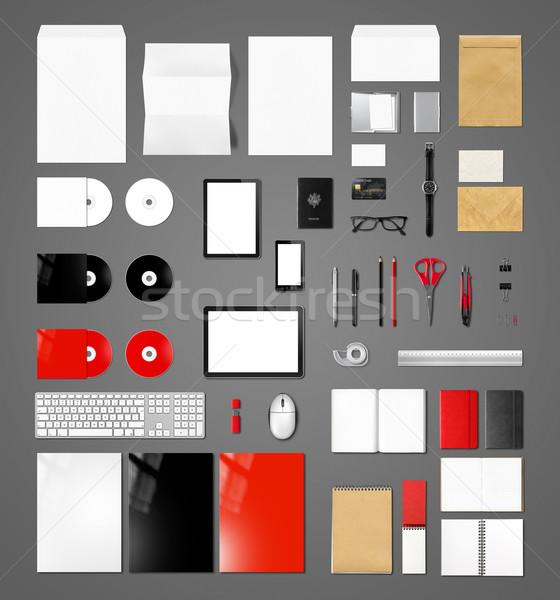 Products branding mockup template, dark grey background Stock photo © daboost