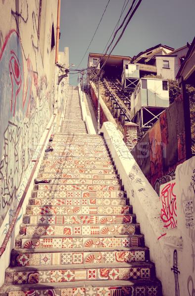 Foto stock: Vintage · elevador · Chile · ao · ar · livre · cidade · céu