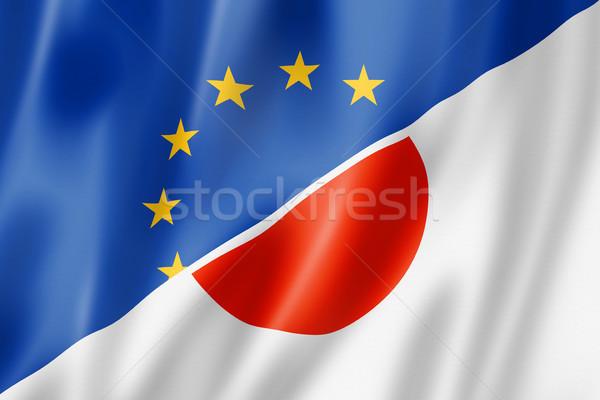 Европа Япония флаг смешанный оказывать Сток-фото © daboost