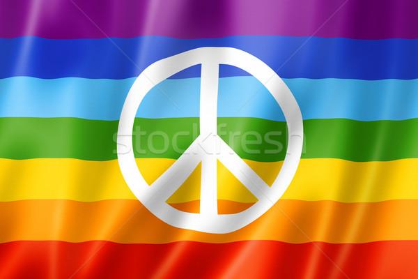 Gökkuşağı barış bayrak üç boyutlu vermek saten Stok fotoğraf © daboost