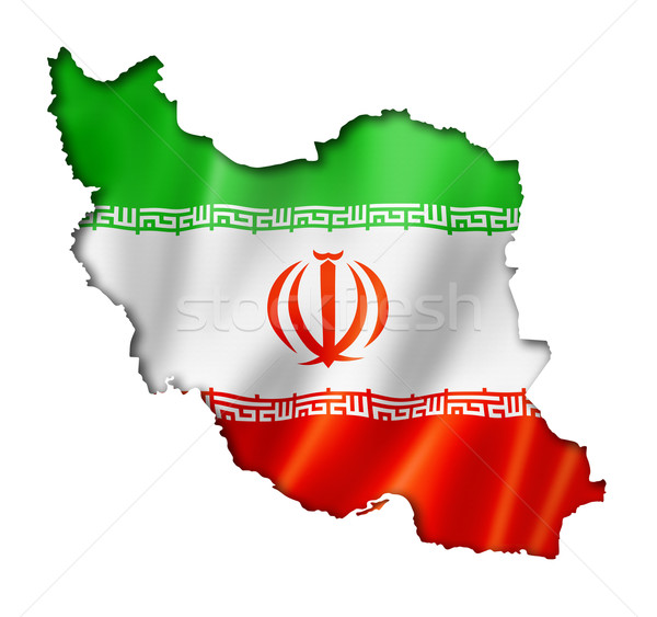 Iranian flag map Stock photo © daboost