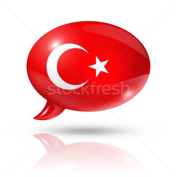 Turkish flag speech bubble Stock photo © daboost