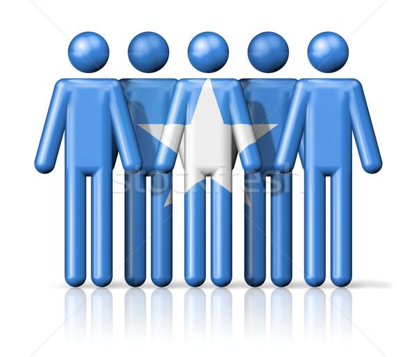Banderą Somali stick figure społecznej społeczności symbol Zdjęcia stock © daboost