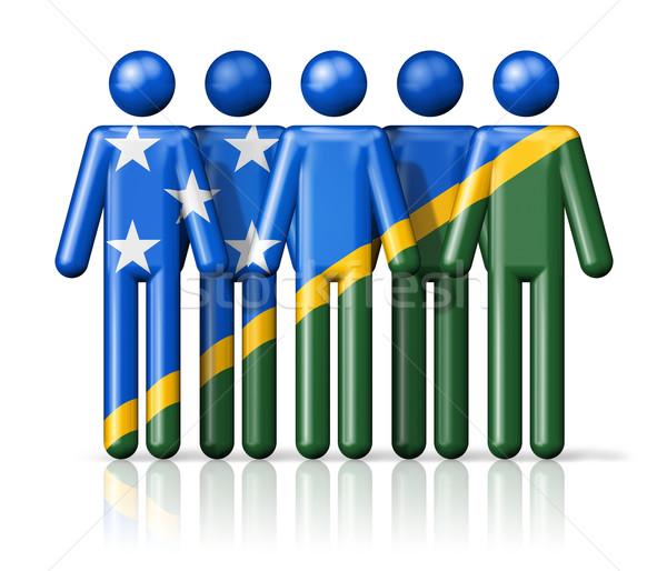 Flag of Solomon Islands on stick figure Stock photo © daboost
