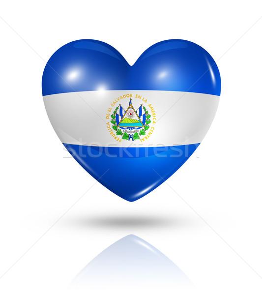 Amor El Salvador coração bandeira ícone símbolo Foto stock © daboost