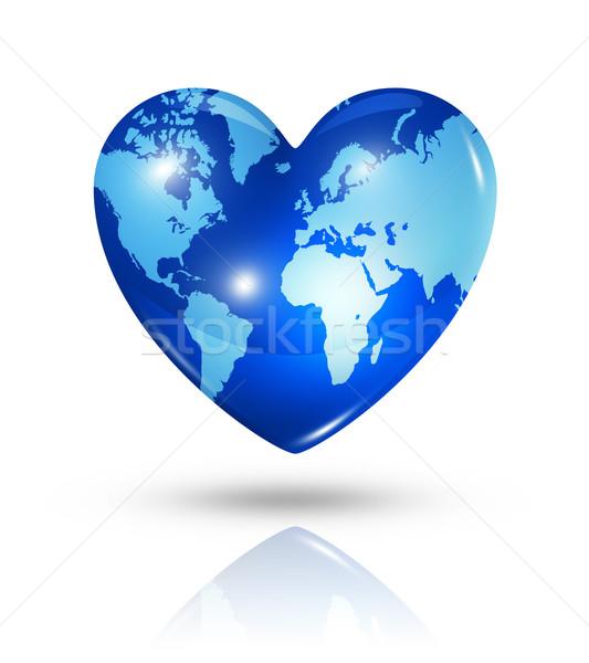 Miłości ziemi serca ikona symbol 3D Zdjęcia stock © daboost