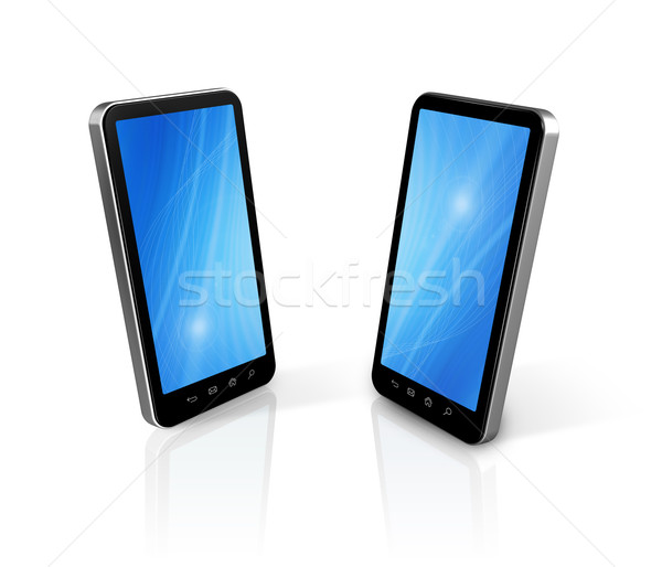 two connected mobile phones Stock photo © daboost