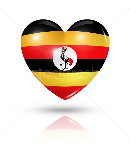 Love Uganda, heart flag icon Stock photo © daboost