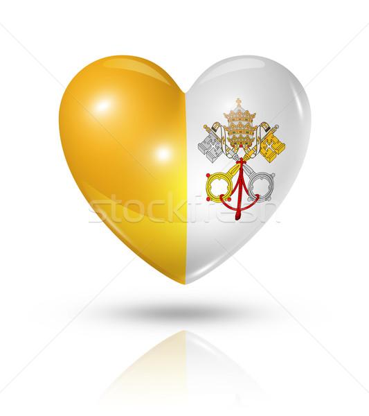 Miłości Watykan serca banderą ikona symbol Zdjęcia stock © daboost