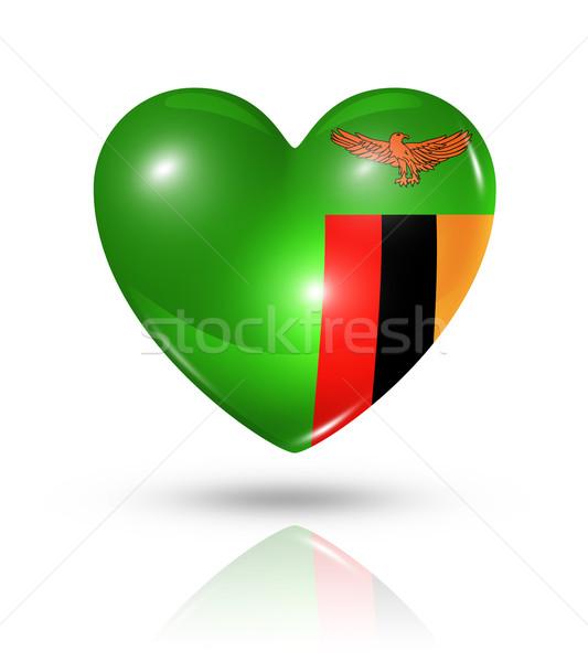 любви Замбия сердце флаг икона символ Сток-фото © daboost