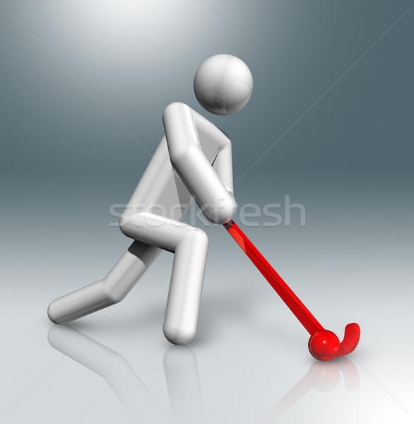 Jégkorong 3D szimbólum sportok háromdimenziós olimpiai játékok Stock fotó © daboost